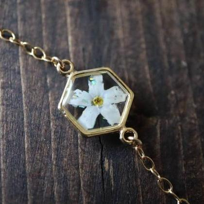 White Forget Me Not - Opal Bracelet..