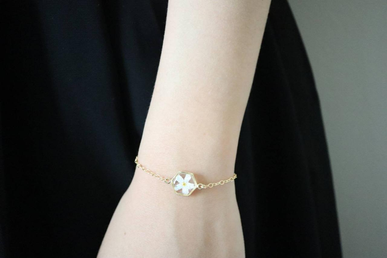 White Forget Me Not - Opal Bracelet / 14k Gold Filled Chain / Resin Jewelry