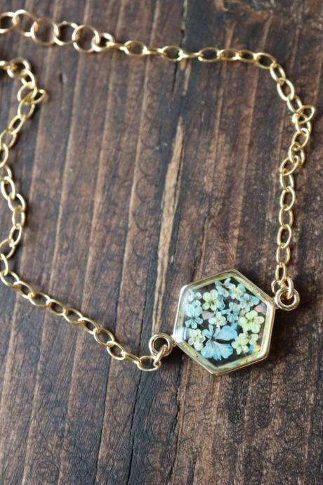 Light Blue Queen Anne's Lace Bracelet / Preserved Flower Jewelry / Gold Filled Bracelet / Resin Jewelry
