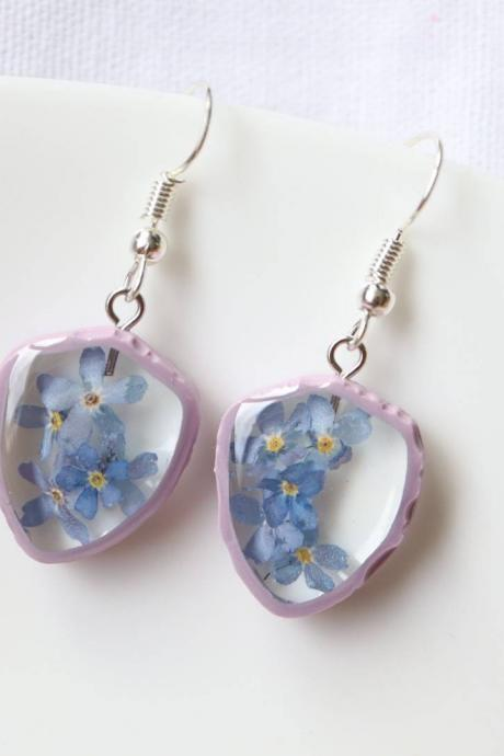 Forget-me-not Earrings / Lovely Gifts For Her / Handmade Resin Jewelry / Botanical Jewelry