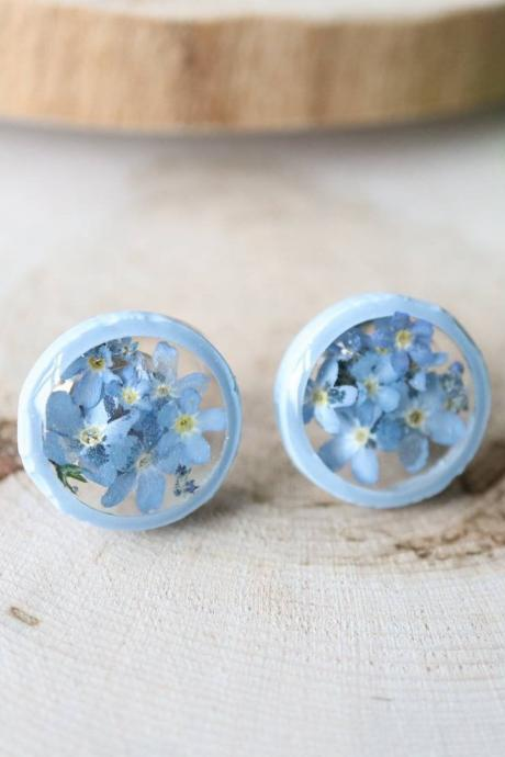 Forget-me-not Stud Earrings / Lovely Gifts For Her / Handmade Resin Jewelry / Botanical Jewelry