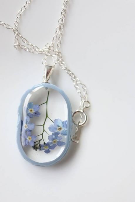 Forget-me-not Necklace / Real Flower Jewelry / Dainty Gift For Women / 925 Sterling Silver Necklace