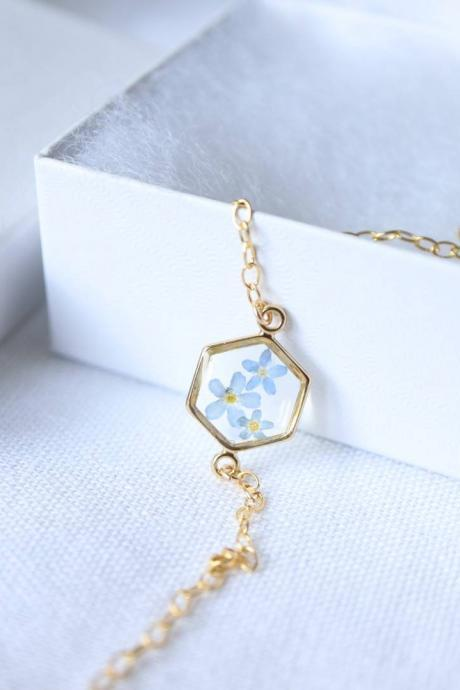 Forget-me-not Bracelet / Real Flower Bracelet / 14k Gold Filled Chain / Adorable Gift For Her