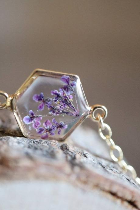 Purple Queen Anne's Lace Bracelet / Preserved Flower Jewelry / Gold Filled Bracelet / Resin Jewelry