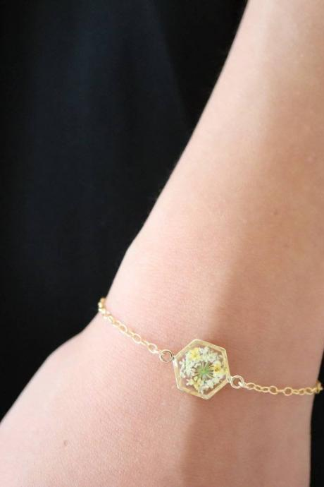 Queen Anne's Lace Bracelet / Preserved Flower Jewelry / 14k Goid Filled Chain / Gift For Her