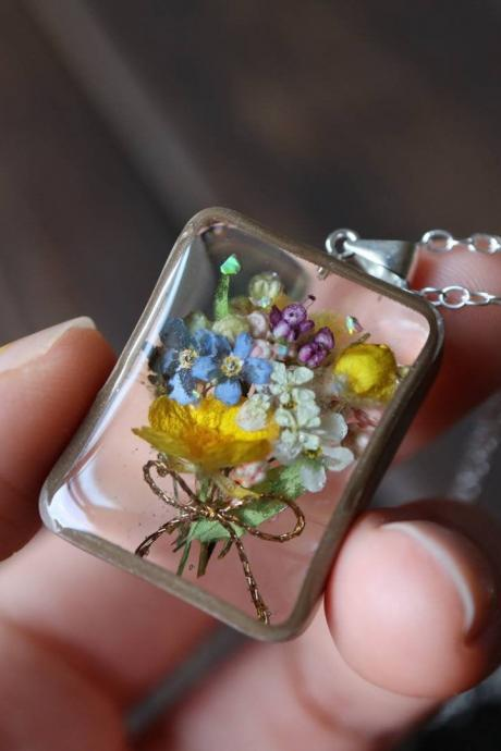Wildflower Bouquet Necklace / Real Flower Jewelry / Gift For Her / 925 Sterling Silver Necklace