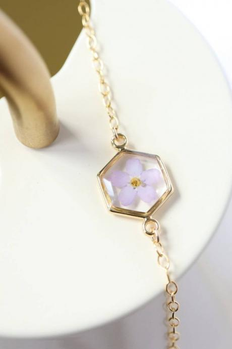 Violet Forget Me Not Bracelet / Real Flower Jewelry / 14K Gold Filled Chain / Adorable Gift