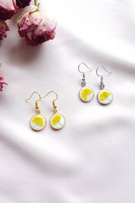 Yellow Wildflower Earrings / Lovely Gift For Her / Real Flower Jewelry