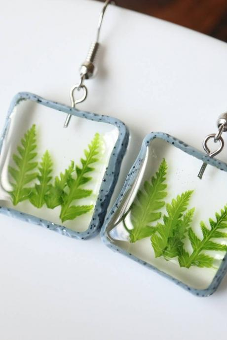 Real Fern Earrings / Dainty Gifts For Her / Handmade Resin Jewelry / Botanical Jewelry