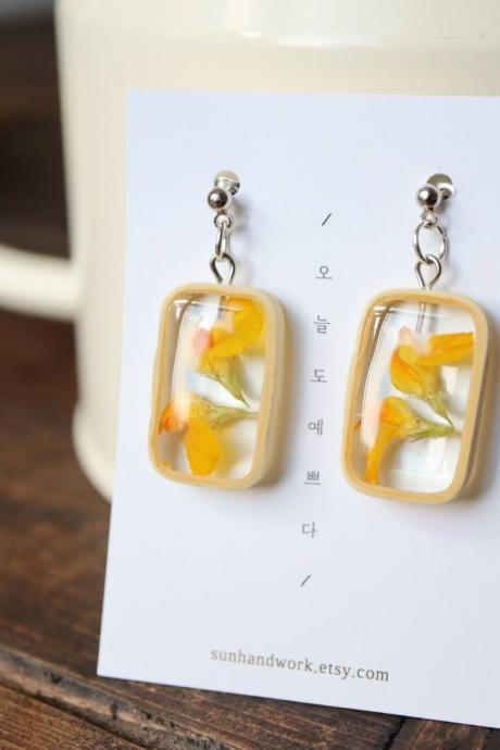Yellow Wildflower Earrings / Dainty Gifts For Her / Handmade Resin Jewelry / Botanical Jewelry