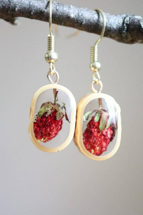 Wild Strawberry Earrings / Lovely Gifts For Her / Handmade Resin Jewelry / Botanical Jewelry