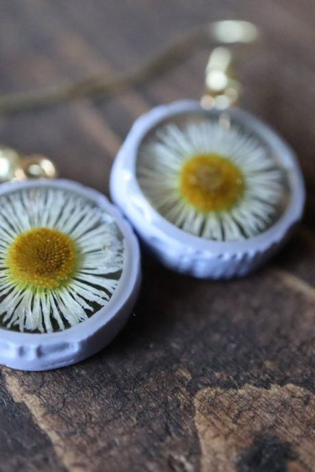 Genuine Wildflower Earrings / Lovely Gifts For Her / Handmade Resin Jewelry / Botanical Jewelry