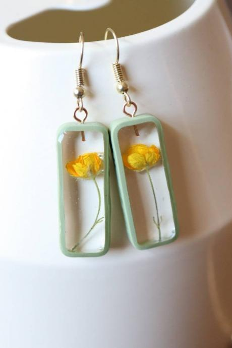 Buttercup Earrings / Lovely Gifts For Her / Handmade Resin Jewelry / Botanical Jewelry