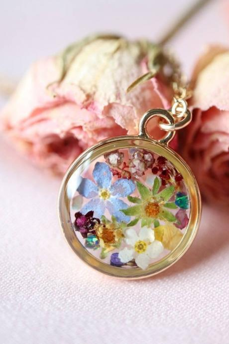 Assorted Wildflower Necklace / 14k Gold Filled Chain / Real Flower Jewelry / Gift For Her