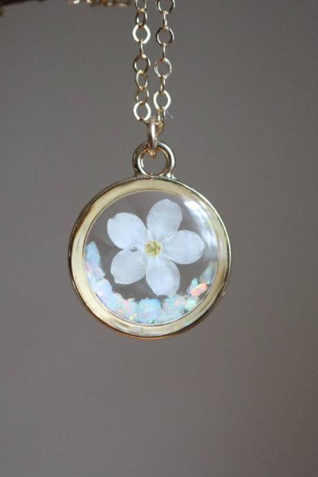 White Forget Me Not - Opal Necklace / Pressed Flower Jewelry / 14k Gold Filled Chain