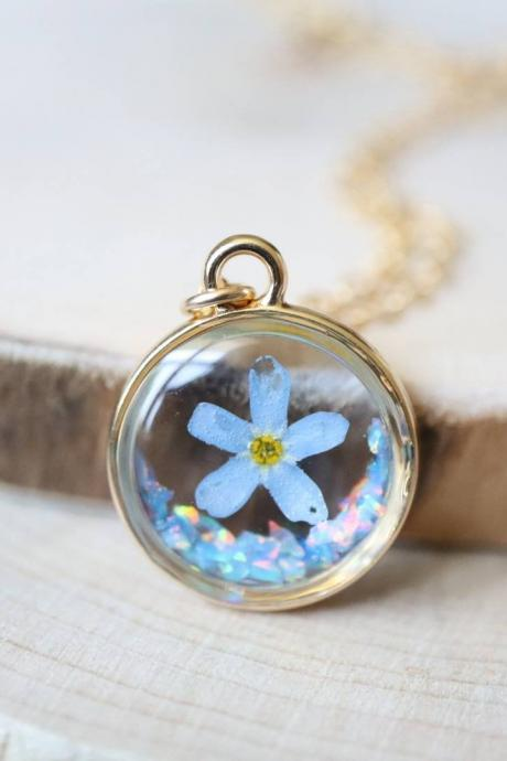 Blue Forget Me Not - Opal Necklace / Pressed Flower Jewelry / 14k Gold Filled Chain