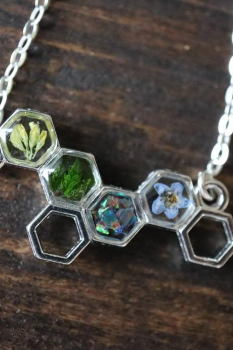 Honeycomb Necklace / Cute Nature Jewelry / Adorable Gift / 925 Sterling Silver Chain