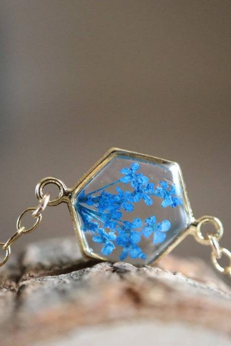 Blue Queen Anne's Lace Bracelet / Preserved Flower Jewelry / Gold Filled Bracelet / Resin Jewelry