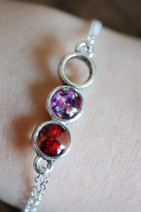 Wild Berry Bracelet / 925 Sterling Silver Chain / Opal Bracelet / Nature Jewelry