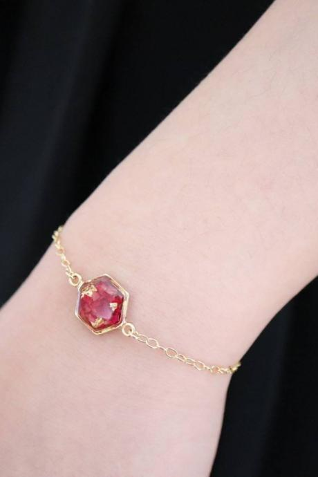 Real Rose Bracelet / Preserved Flower Jewelry / Gold Filled Bracelet / Resin Jewelry