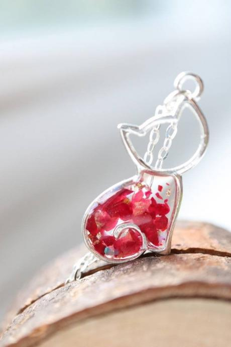 Rose Cat Necklace / Cute Nature Jewelry / Adorable Gift / Sterling Silver Chain