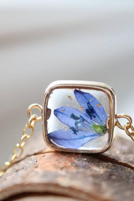 Blue Wildflower Bracelet / Real Flower Jewelry / Gold Filled Chain / Nature Gift