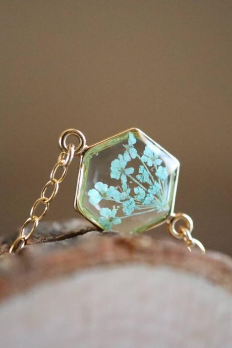 Mint Queen Anne's Lace Bracelet / Preserved Flower Jewelry / Gold Filled Bracelet / Resin Jewelry