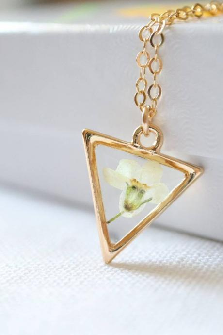 White Forget Me Not Necklace_Triangle / Pressed Flower Necklace / Gold Filled Chain
